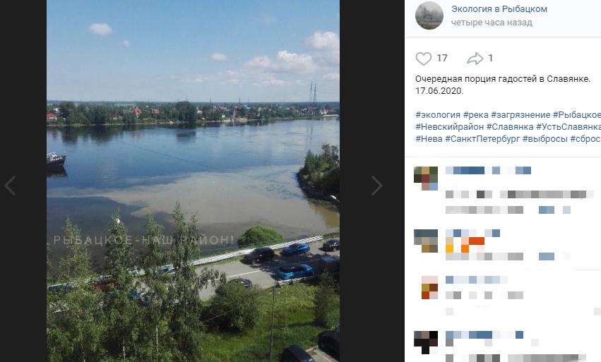 Росприроднадзор проверит жалобы петербуржцев о загрязнении реки Славянки