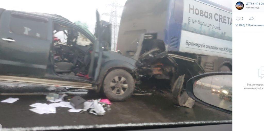 Водитель пикапа погиб в массовом ДТП на КАД у «Меги Парнас»