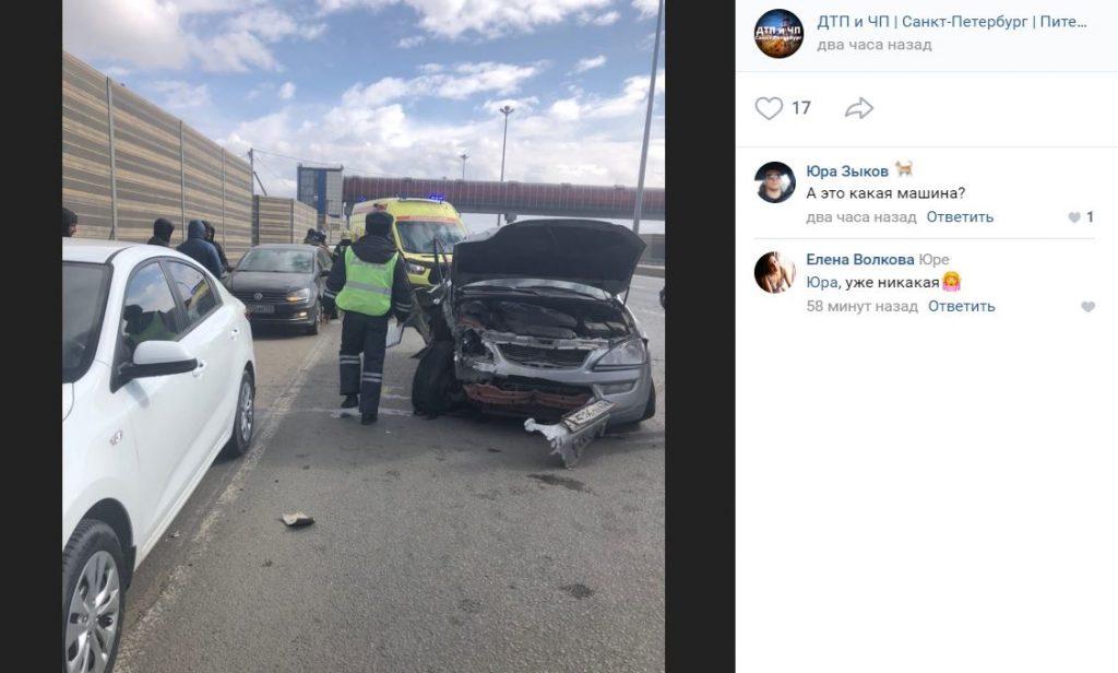 В ДТП на Московском шоссе пострадал один человек