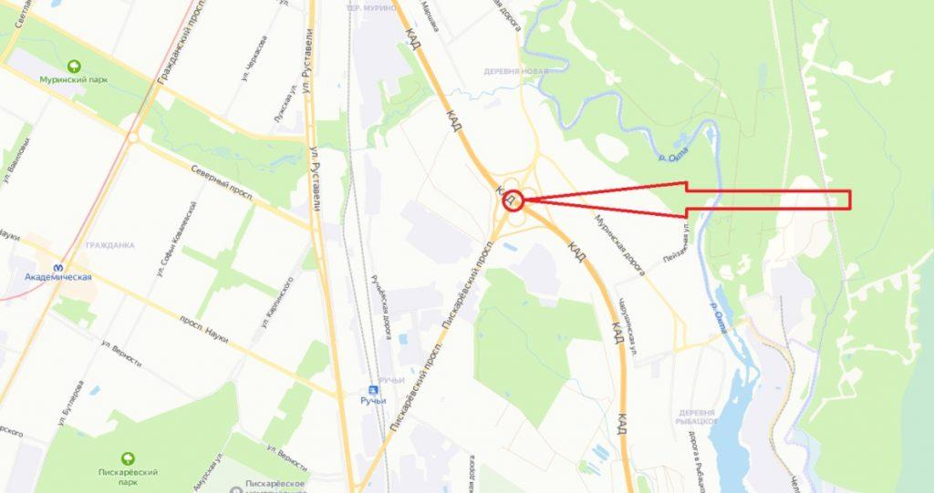 На развязке КАД с Пискаревским проспектом до конца апреля перекроют одну полосу