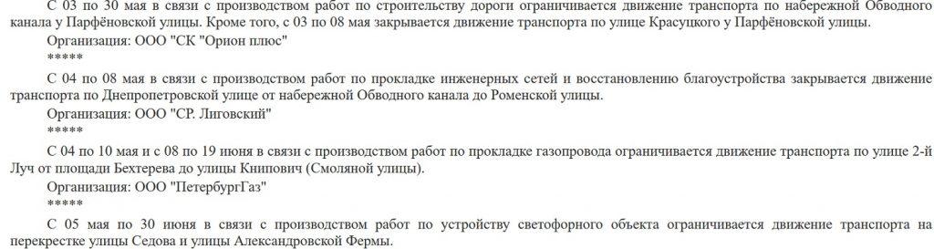 Водителей предупредили о новых ограничениях движения с 1 по 5 мая в Петербурге