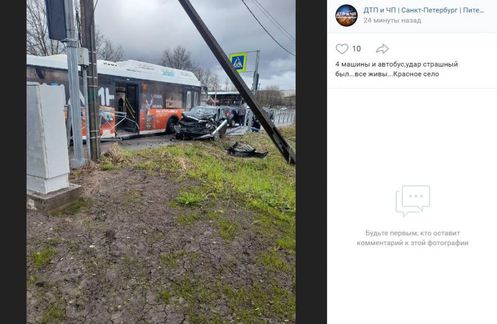 Гонщик на «Приоре» устроил массовое ДТП с автобусом в Красном Селе