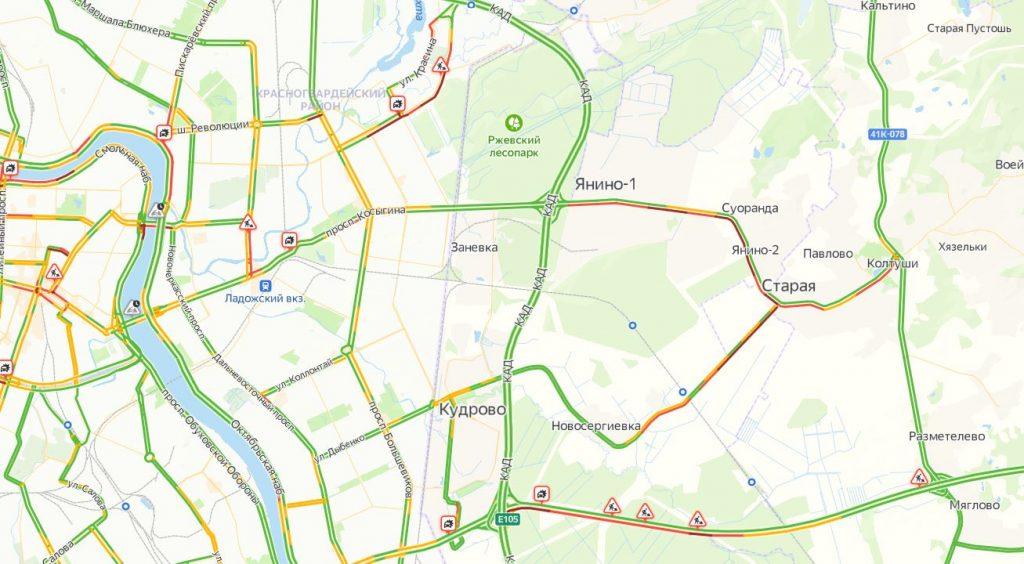 Дорожные работы, парализовавшие движение на Рябовском шоссе, закончатся 25 июня