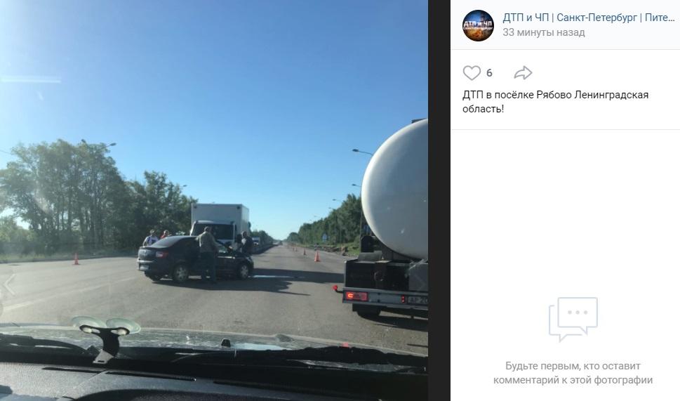 Лобовое ДТП на Московском шоссе затруднило движение транспорта