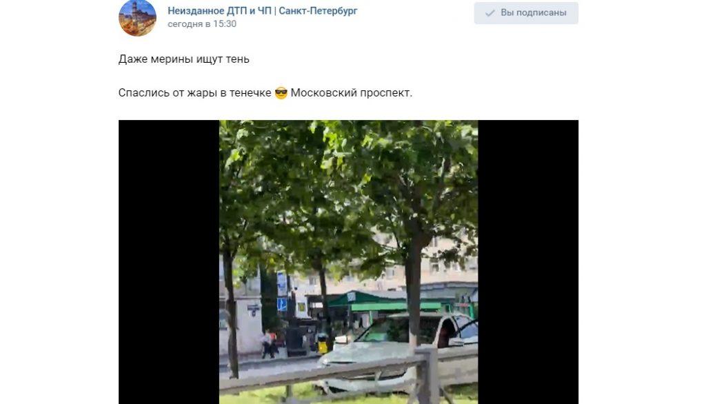 На Московском проспекте заметили странно «припаркованный» автомобиль