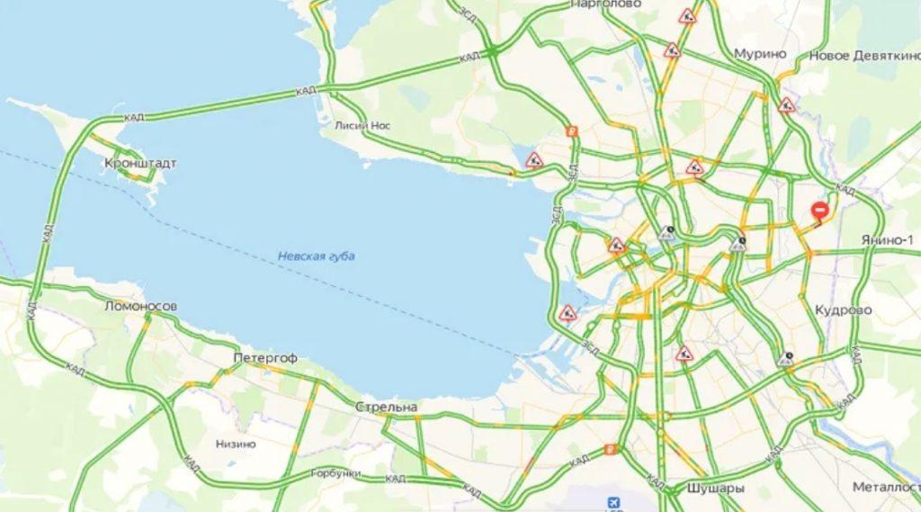 Город спит: пробки в Петербурге оценивается в один балл