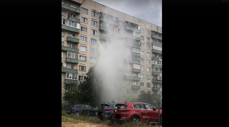 На Шлиссельбургском прорвало трубу: фонтан достает до девятого этажа