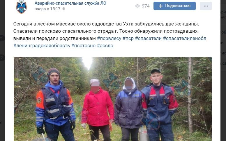 Спасатели помогли двум заблудившимся женщинам выбраться из леса в Ленобласти
