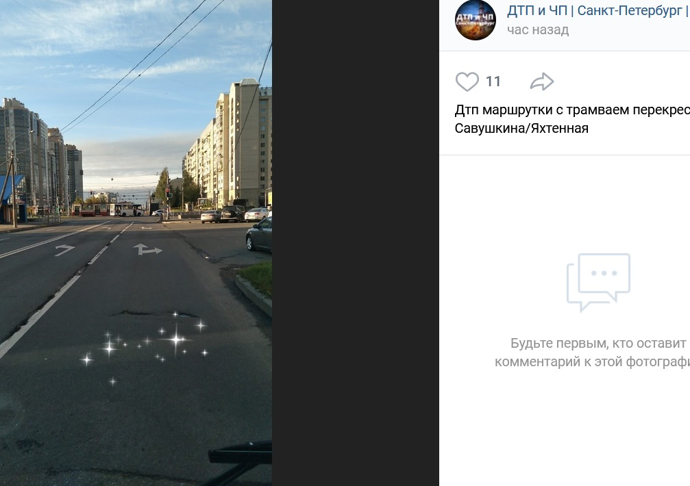 Маршрутка въехала в трамвай в Приморском районе